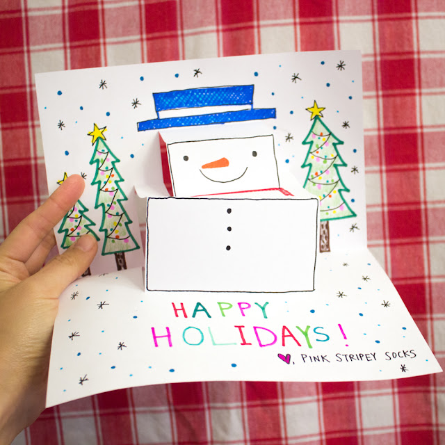 How to Make a DIY Pop-up Christmas Snowman Paper Card Craft with Kids- Super easy and fun for the whole family