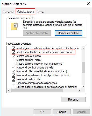 Windows 10, Mostra le notifiche del provider di sincronizzazione