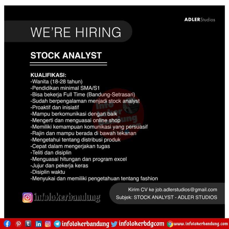 Lowongan Kerja Stock Anylyst Adler Studios Bandung Juni 2021