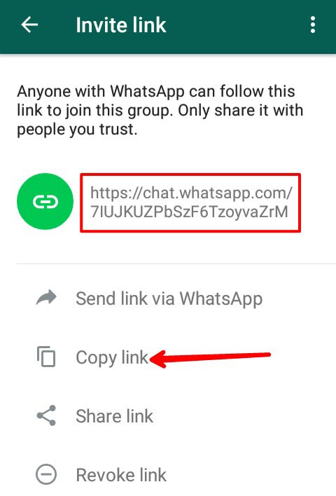 Whatsapp group invitation link created