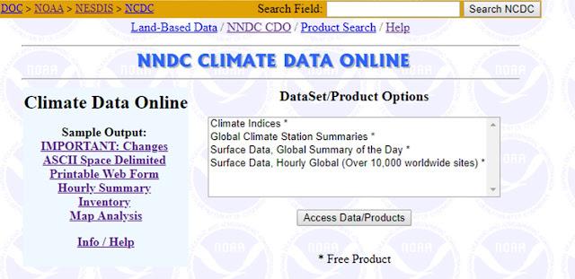 Halaman untuk mengakses data iklim dunia - CDO NCDC NOAA
