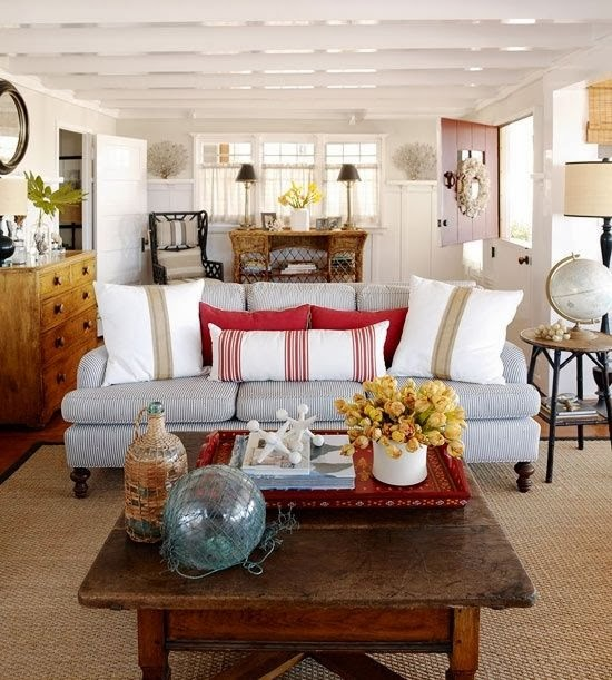 Cozy Coastal Living Room: Eye For Design: Decorating With Ticking Fabric