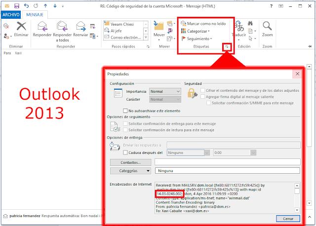 Encabezado de Internet Microsoft Outlook 2013