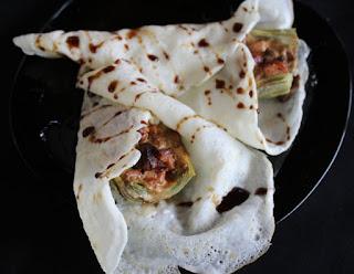 Alcachofas con foie con velo de maicena