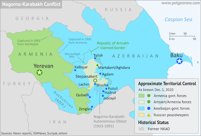 Nagorno-Karabakh control map, showing territorial claims and control after the Azerbaijan-Armenia war, including the self-proclaimed Republic of Artsakh. Updated to December 1, 2020, at the approximate time of completion of all Artsakh/Armenian withdrawals promised under the 2020 peace agreement. Colorblind accessible.