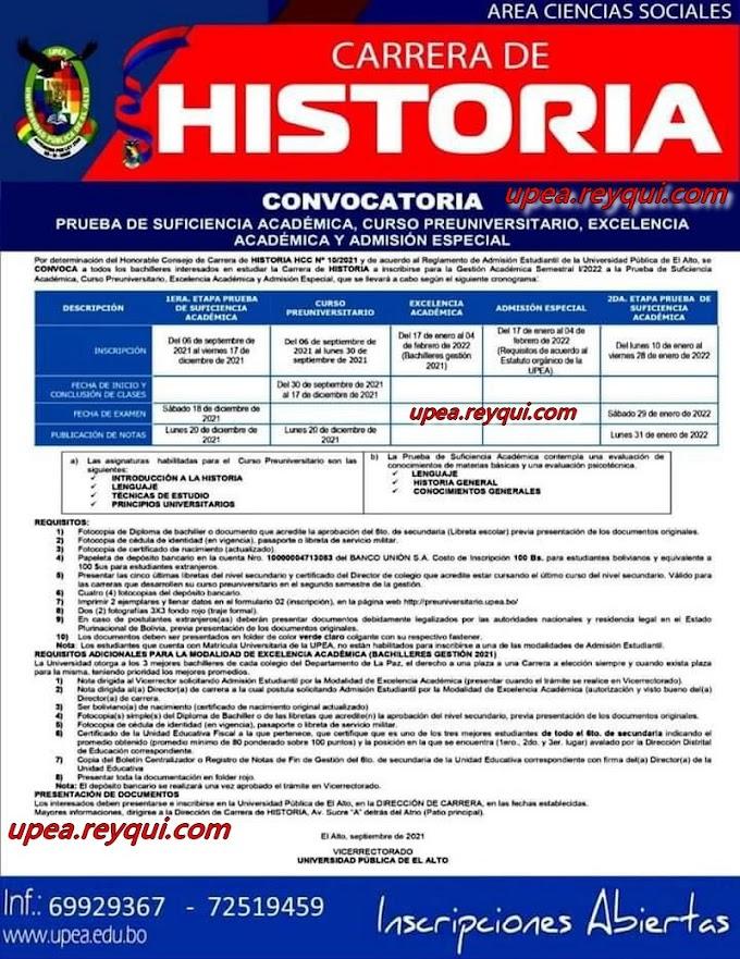 Historia UPEA I/2022: Convocatoria a la Prueba de Suficiencia Académica, Curso Preuniversitario, Excelencia Académica y Admisión Especial