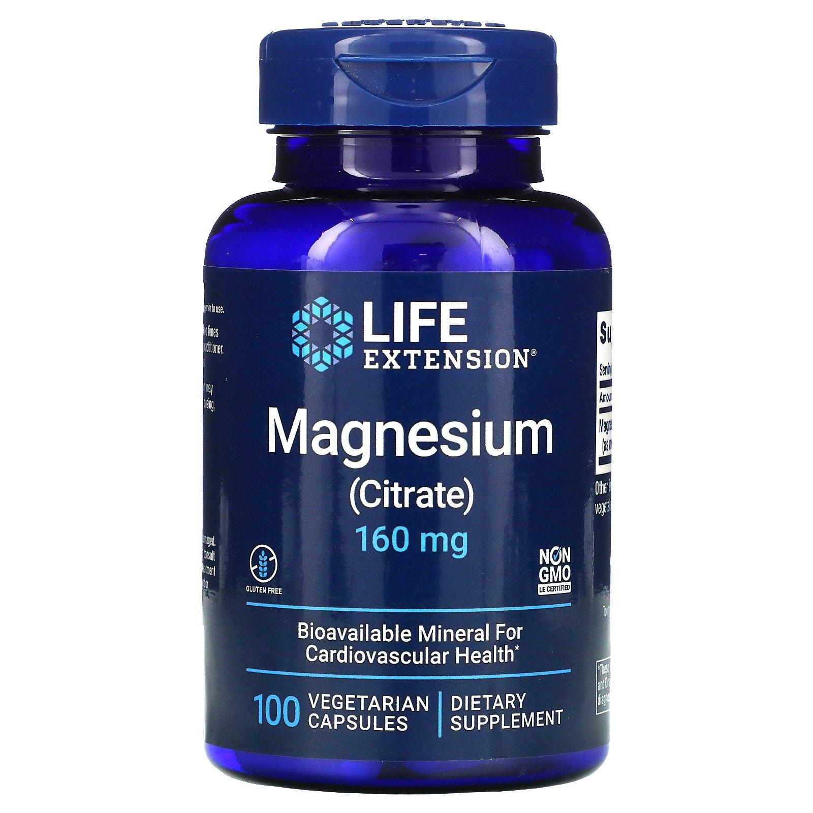 Life Extension, магний, 160 мг, 100 вегетарианских капсул
