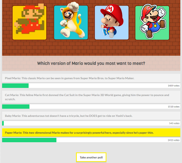 Club Nintendo Mario fun poll results Pixel Cat Baby Paper favorite meet