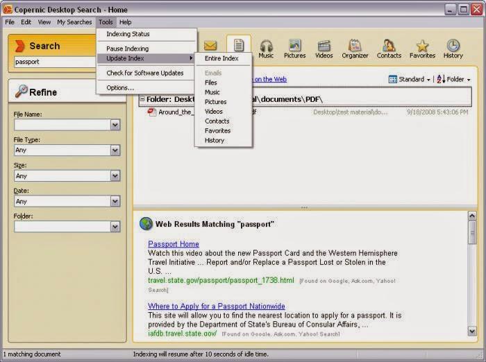 Software Downloads: DOWNLOAD Copernic Deskop Search 4 1 1