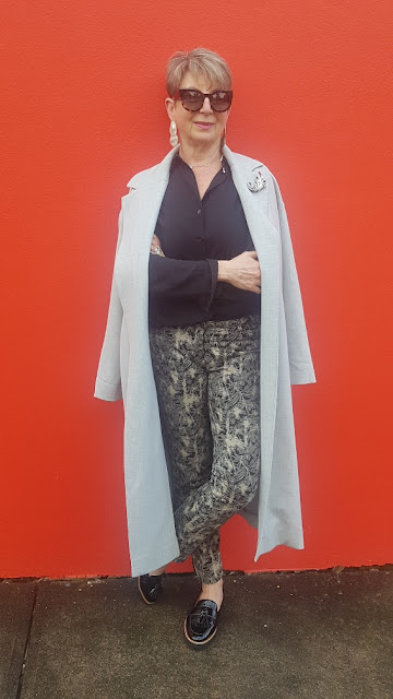 GREY COAT, PRINT PANTS, PATENT SHOES