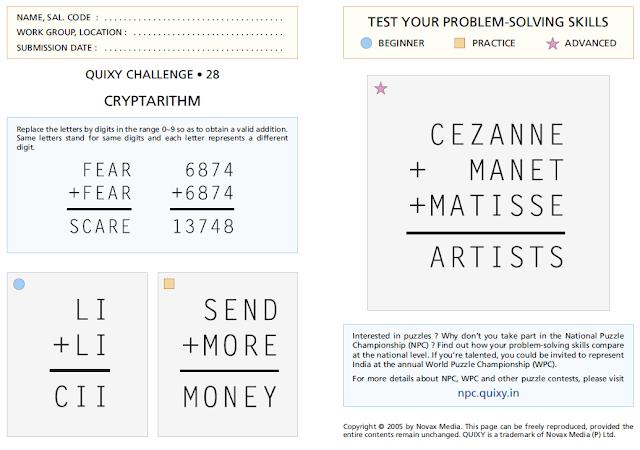CRYPTARITHM Puzzles