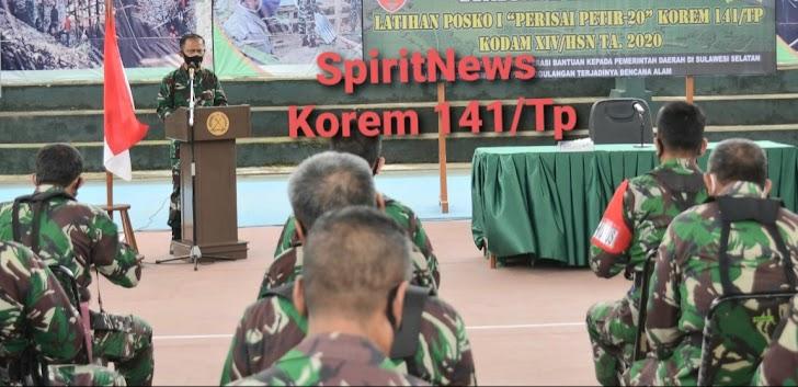 Kapok Sahli, Pangdam XIV/HSN, Pimpin Penutupan Latihan Gladi Posko 1 di Korem 141/Tp