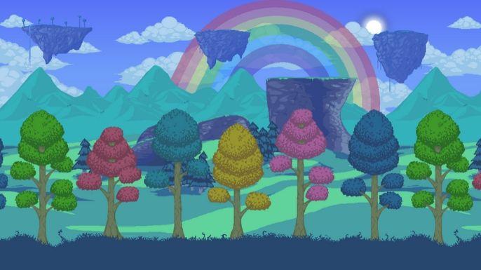 Uma bela paisagem colorida do mundo de Terraria
