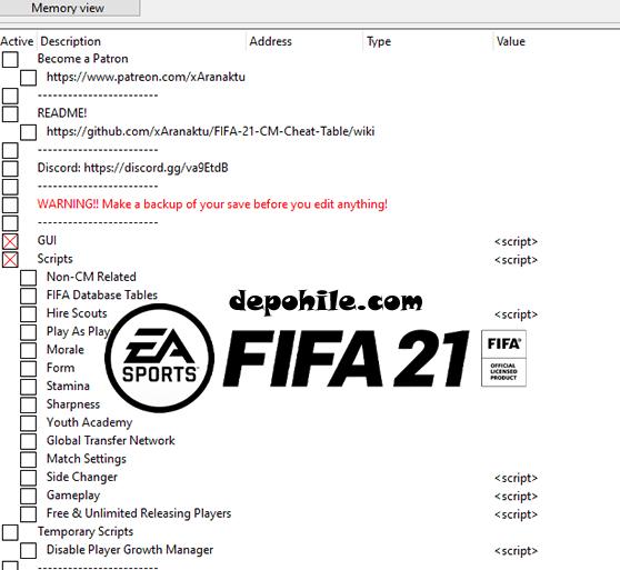 FIFA 21 CT Trainer Güç, Moral Bedava Oyuncu Hilesi İndir
