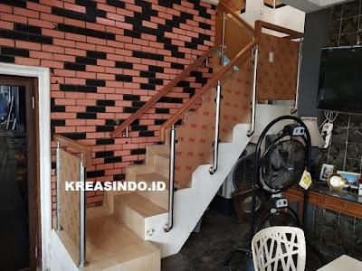 Railing Balkon Stainless Akrilik pesanan kedua di perum Villa Permata Santi Cinere berikut Penampakannya