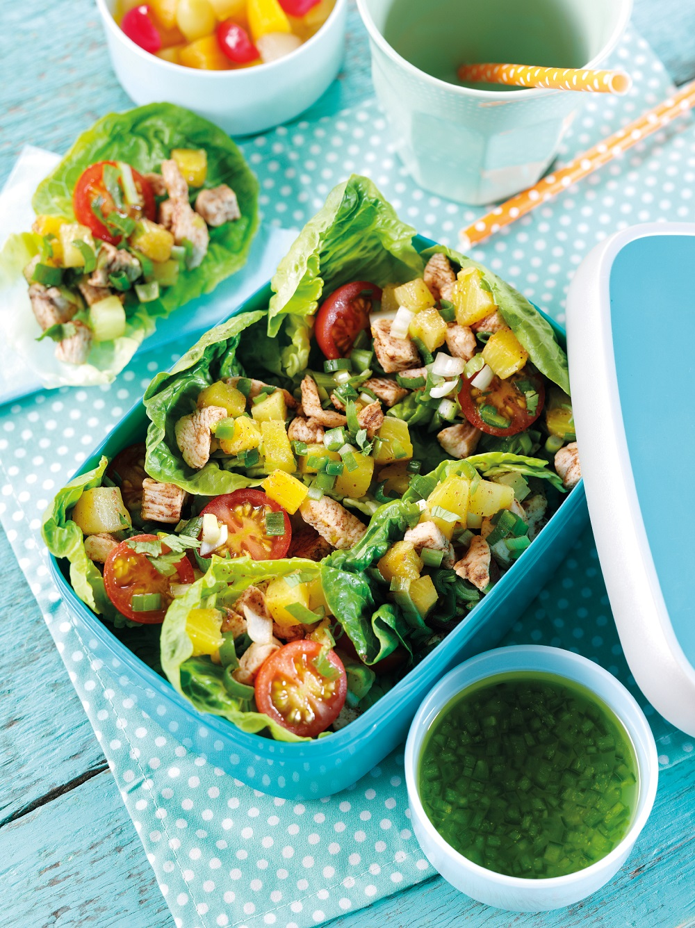 Pineapple & Chicken Salad Cups: