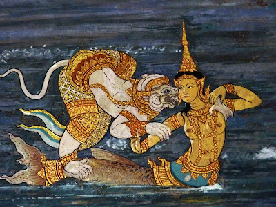 Hanuman and Suvannamachha, the mermaid princess. Ramakien mural on the walls of the Wat Phra Kaew, the Temple of the Emerald Buddha in Bangkok.