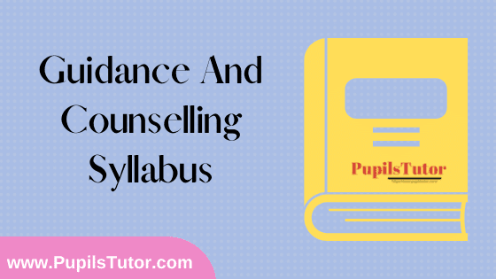 Guidance And Counselling Syllabus, Course Content, Unit Wise Topics And Suggested Books For B.Ed 1st And 2nd Year And All The 4 Semesters In English Free Download PDF