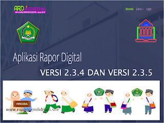 Aplikasi Rapor Digital versi 2.3.4 dan versi 2.3.5