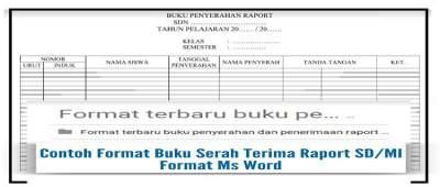 Contoh Format Buku Serah Terima Raport SD/MI Format Ms Word