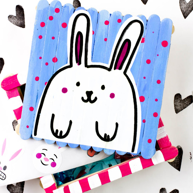 popsicle stick box crafts for Easter, St. Patrick's Day, and Pokemon Day (Just kidding!)
