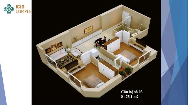Thiết kế căn 03 diện tích 75,1m2 Icid Complex