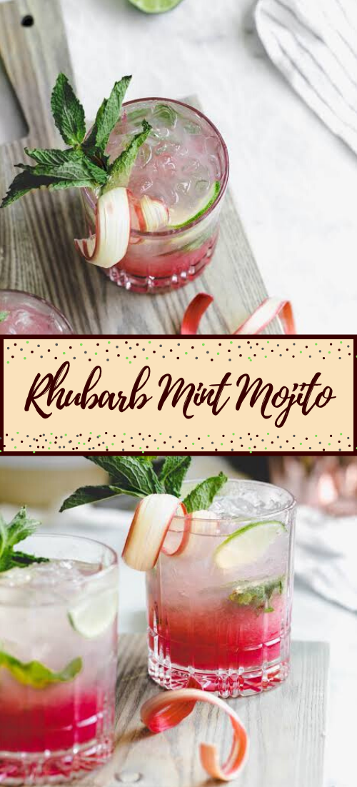 Rhubarb Mint Mojito  #healthydrink #easyrecipe #cocktail #smoothie
