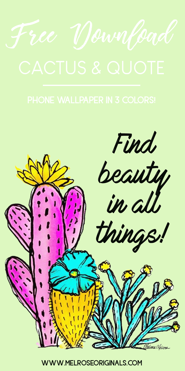 teaser of the colorful watercolor cactus wallpaper for phones