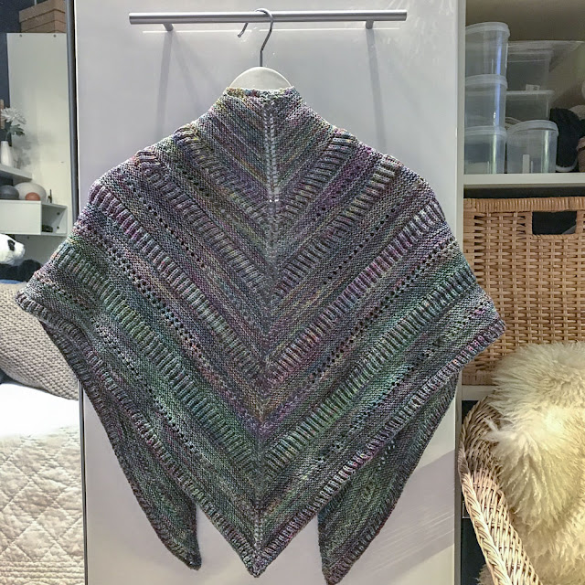 sjal, shawl, malabrigo, stickning, knitting