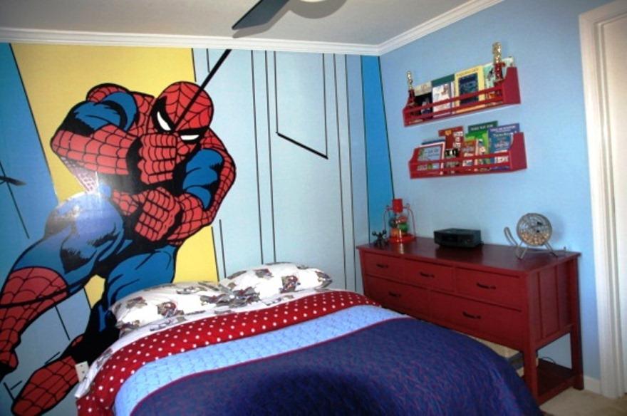 Gambar Wallpaper Dinding Tema Spiderman Untuk Kamar Anak Laki-Laki