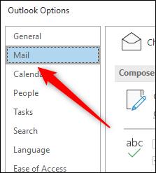 علامة التبويب البريد في نافذة خيارات Outlook