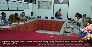 Dalam pertemuannya dengan jajaran Komisioner KPU Kota Sukabumi, anggota Komisi I DPRD Provinisi Jawa Barat menyampaikan beberapa hal terkait proses tahapan dan kendala yang dihadapi KPU.