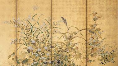Flores japonesas de primavera y otoño, frutas y hierbas