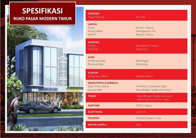 Spesifikasi Ruko Pasar Modern Timur