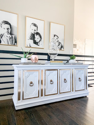 white dresser makeover with gold washi tape