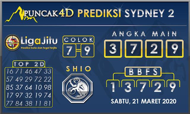 PREDIKSI TOGEL SYDNEY2 PUNCAK4D 21 MARET 2020