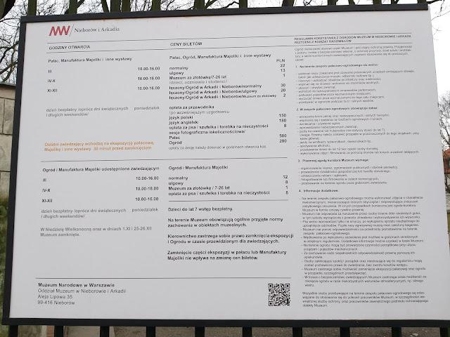 Ceny biletów Nieborów