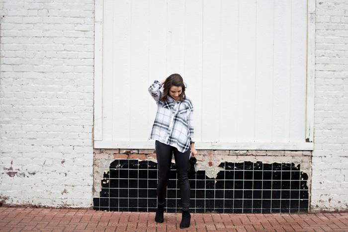 edgy fall night out outfit, leather leggings, bp nordstrom plaid shirt, pom pom wristlet, velvet choker