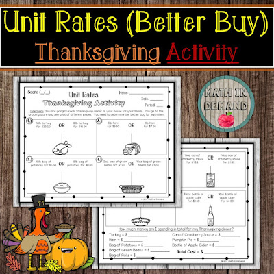 Unit Rates Thanksgiving Activity Better Buy