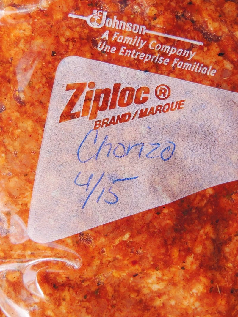 Close up of Sauce and meat for Easy Homemade Chorizo in a ziplock bag.