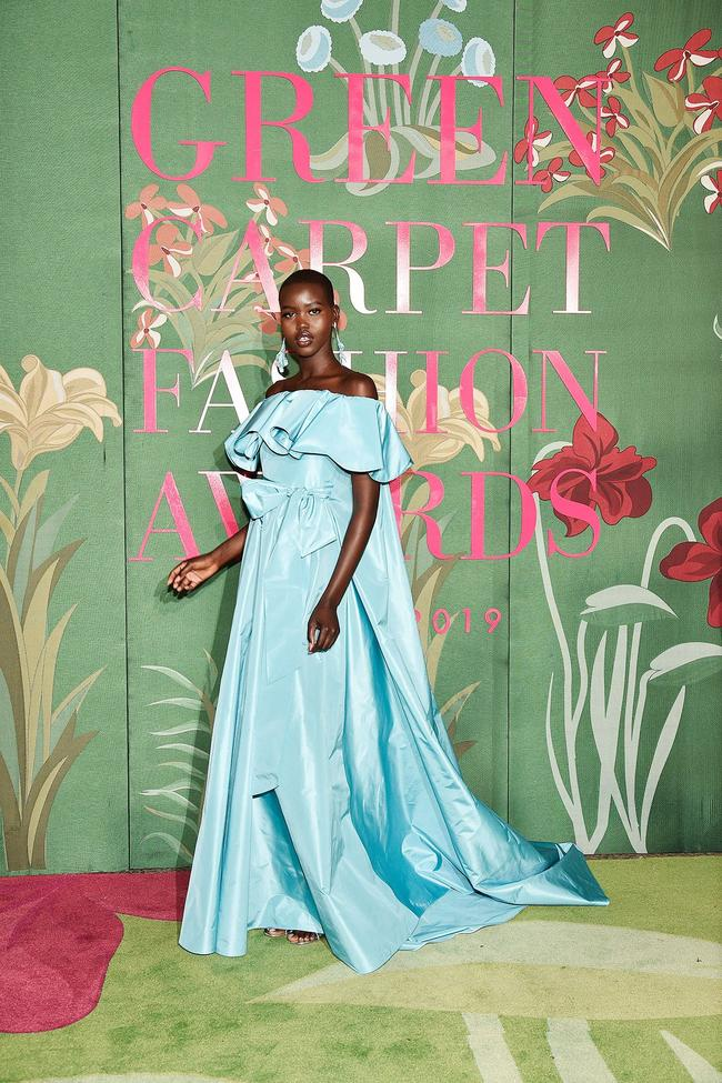 Adut Akech wears sustainable Valentino to the 2019 Green Carpet Fashion Awards