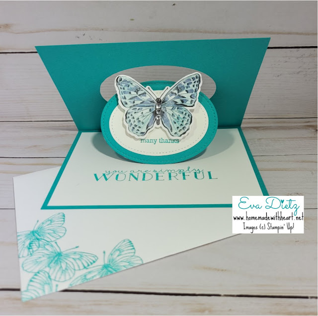 beautiful bermuda bay card with floating butterfly in the pop and flip mechanism