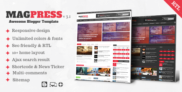 magpress premium template unduh gratis untuk blogger