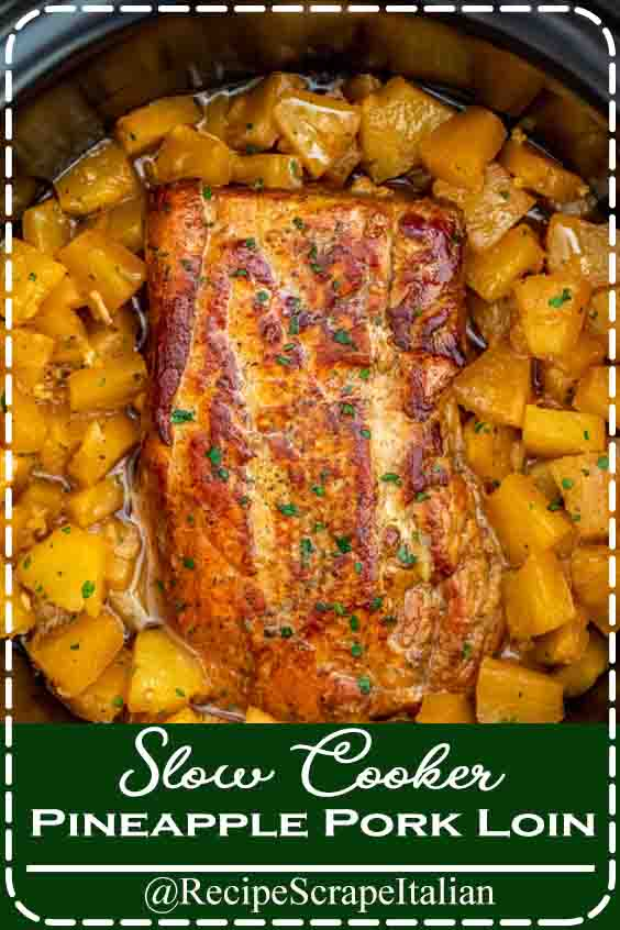 Slow Cooker Pineapple Pork Loin #slowcooker #crockpot
