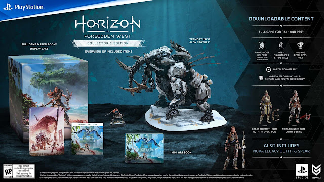 horizon forbidden west collector's edition cross-gen special outfits carja behemoth short bow nora thunder elite weapons steelbook display case custom sculpted aloy tremortusk statue mini art book in-game resources pack ammunition potions travel apex clawstrider machine strike piece exclusive photo mode pose face paint digital soundtrack horizon zero dawn graphic novel sunhawk open-world action role-playing game guerrilla games playstation sony interactive entertainment february 18, 2022 ps4 ps5