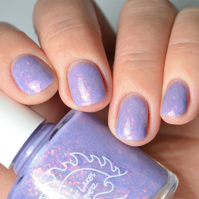 lavender flakie nail polish four finger swatch
