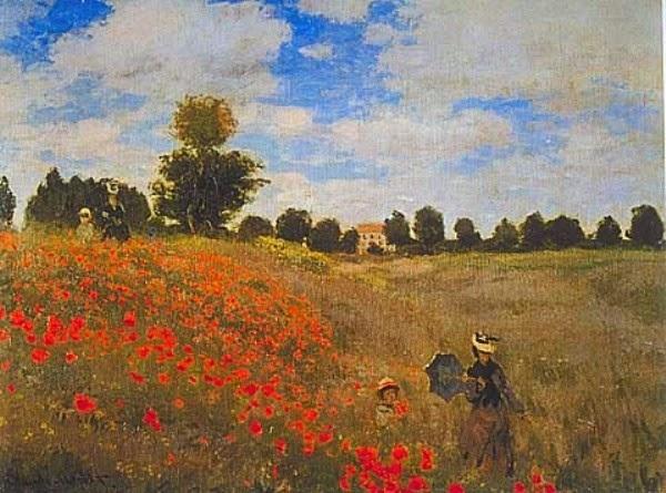 Campo de Papoulas em Argenteuil - Pinturas de Monet Claude | O Pai do Impressionismo