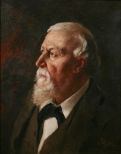 A portrait of Robert Browning painted by his son, Pen, in aroud 1882