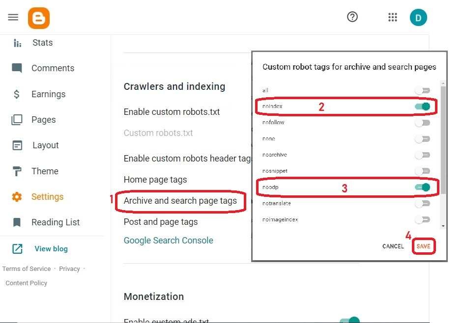 Enable Archive and search page tags
