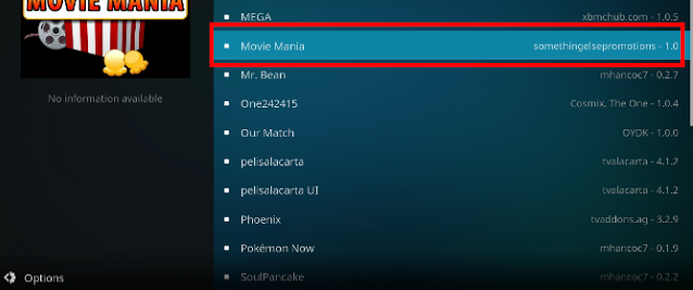 Click Movie Mania from list to begin install Movie Mania addon on your kodi